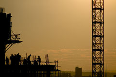 High-rise construction. Silhouette of high-rise building under construction Royalty Free Stock Photo