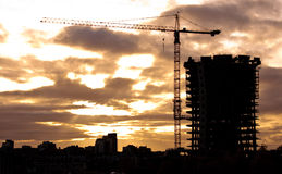 High Rise Construction. High Rise tower under construction at dusk in Vancouver, Canada Stock Image