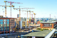 High-rise cranes working in building, Helsinki Royalty Free Stock Photo