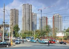 High-rise die in aanbouw Dalian, Liaoning-Provincie, China inbouwen Royalty-vrije Stock Afbeelding