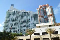High rise facade, South Point Drive, Miami Beach, Florida Stock Photos