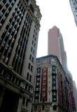 High-rise gebouwen van verschillende stijlen in Manhattan De V.S. 2017 Stock Foto's