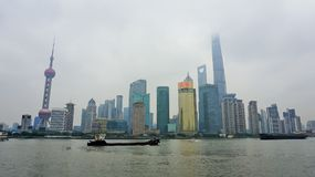 High-rise gebouwenhorizon in Shanghai stock fotografie