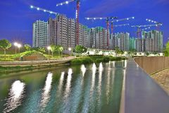 High Rise Apartments. A long exposure scene of some Singapore government subsidized Housing Development Board (HDB) flats under construction at Punggol. Image Stock Photography