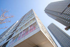 High rise living. Tokyo, Japan. Modern high rise residential apartment building. Concrete, glass and steel high rise tower. Modern architecture buildings. Modern royalty free stock image
