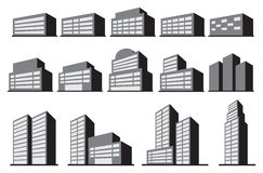 High-Rise Office Building Blocks Vector Icon Set Stock Photo