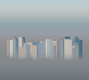 High-rise office buildings in the smog, vector illustration Stock Photography
