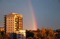 High rise and rainbow Stock Photos