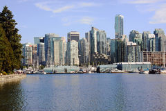 High rise residential apartments, Stanley Park. Royalty Free Stock Photo
