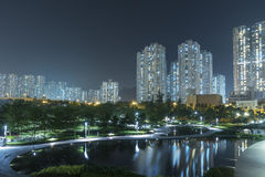 High rise residential building and public park Stock Image