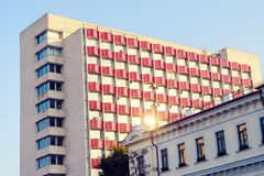High-rise residential building. Stalinist architecture, high rise residential building in the city of Chisinau, moldova stock photos