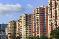 High-rise residential buildings. Colorful high-rise residential buildings in Hong Kong Royalty Free Stock Images
