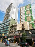 High-rise residential buildings and stores, Binondo, Manila stock images
