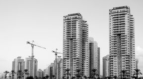 High-rise residential buildings under construction. The site wit. Black and White Image of High-rise residential buildings under construction. The site with Royalty Free Stock Images