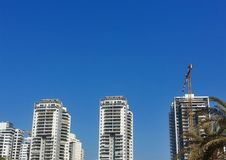 High-rise residential buildings under construction. The site wit Stock Photography