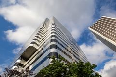 High rise skyscraper in downtown. royalty free stock image