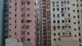 High-rise slums in Hong Kong. Dense building of houses Stock Photos