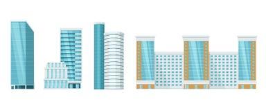 High-rise stadswolkenkrabbers Buitenkant van gebouwen, voorgevels architecturale, stedelijke infrastructuur stock illustratie