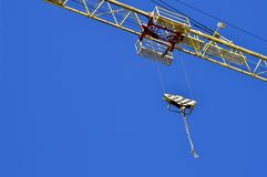 High-rise truck crane for construction and lift equipment and materials.  Royalty Free Stock Photo