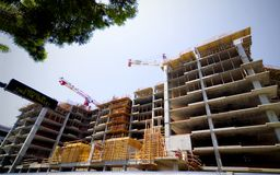 High-Rise under construction. Urban Office or Residential high-rise under construction Stock Photo