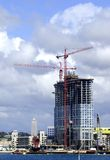 High-Rise Under Construction. Luxury office or residential bayfront high-rise under construction Stock Photo