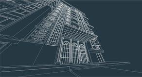 High-rise van de architectuurtekening de bouwingang Stock Afbeeldingen