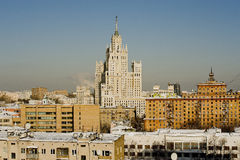 High-rise. View of the Moscow high-rise building in the winter day Royalty Free Stock Photo