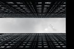 High rises accommodation building of modern metro cityscape arts photography in black and white. Monotone stock photo