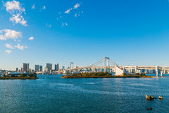 High rises and cityscape with Rainbow bridge in Tokyo Stock Image