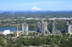 High rises under construction & east Portland. Stock Photo