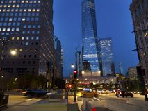 High rises at the world trade center area. At night. Manhattan New York Royalty Free Stock Photos