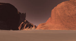 High-rising Martian canyon walls Royalty Free Stock Photography