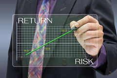 High risk high return. Businessman pointing on investment graph Stock Photos