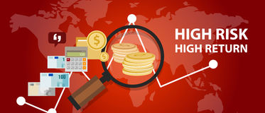 High risk high return investment profile analysis of money Stock Photography