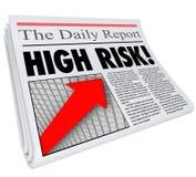 High Risk Newspaper Headline Increased Danger Level Stock Photography