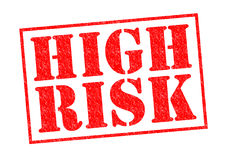 HIGH RISK. Red Rubber Stamp over a white background Royalty Free Stock Photos