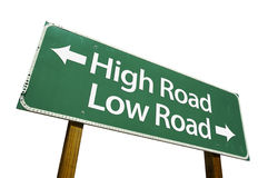 High Road, Low Road road sign. Isolated on a white background. Contains Clipping Path Stock Image