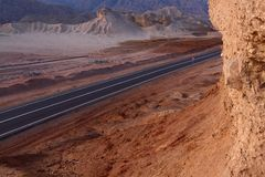 High road in stone desert Stock Photos