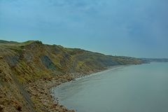 High rock cliffs of the French north sea coast near Boulogne sur mer. High rock cliffs of the French north sea coast near Boulogne, Nord Pas De Calais, France on royalty free stock photo