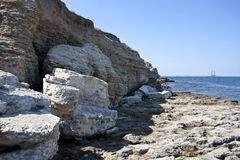 High rocks ashore stock images