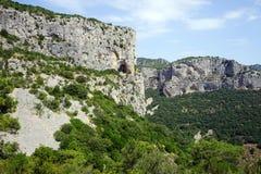 High rocks. Near Gellone valley near Saint-Guilhem-le-Desert, France royalty free stock images