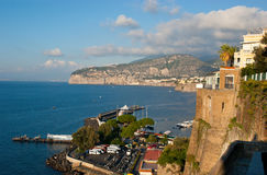 The high rocks of Sorrento. The view on Sorrento port and rocky coastline Royalty Free Stock Images