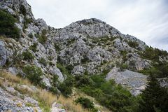 Beautiful mountain Biokovo mountain park in Croatia. High rocky mountains in National Park Biokovo in Croatia.Beautiful natural view.Go hiking in popular tourist Stock Images