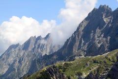 The high rocky peak of the Swiss mount Schwarzhorn stock photo
