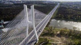 High rope bridge over the river Stock Photos