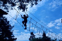 High ropes challenge course royalty free stock photography