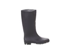 High rubber boot black color. Isolated on a white background Stock Photography