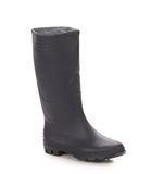 High rubber boot black color. Isolated on a white background royalty free stock image