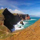 Madeira Island, Coastline, Ocean Cliffs  Portugal. High rugged cliffs in the Atlantic Ocean and scenic coastline of Madeira island, Portugal Stock Photography