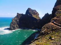 High Rugged Cliffs, Madeira Coastline, Atlantic Ocean. High rugged cliffs in the Atlantic Ocean and scenic coastline of Madeira island, Portugal Stock Photo